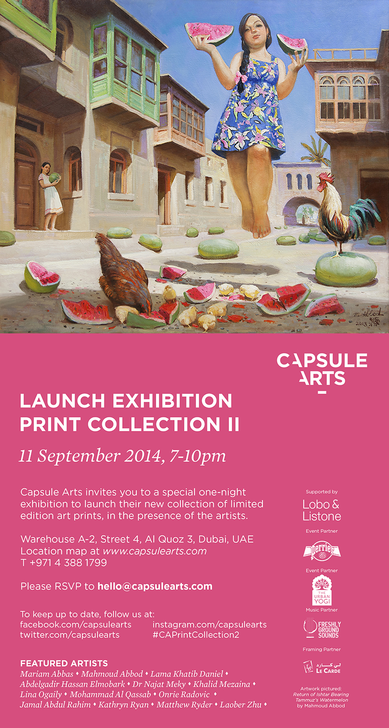 Invitation - Capsule Arts Launch Exhibition, 11 September 2014, 7-10pm