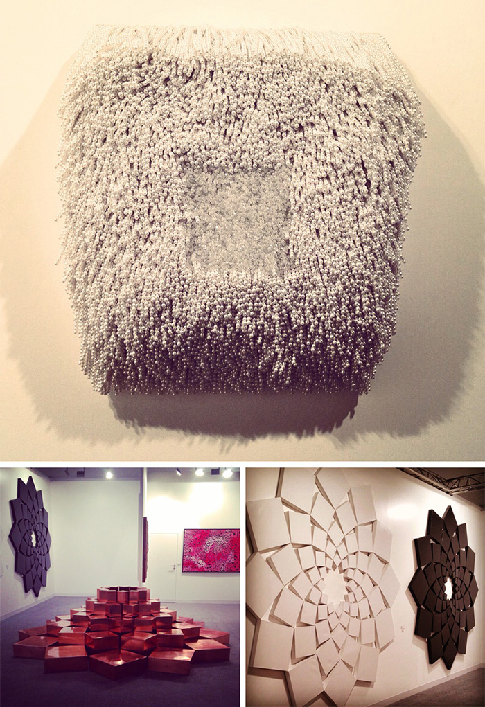 Art on display at Leila Heller Gallery. Clockwise from top: 'Untitled (Pearls)' by Paola Pivi; 'Saida XXXVI: Copper' by Steven Naifeh; 'Saida I & II' by Steven Naifeh