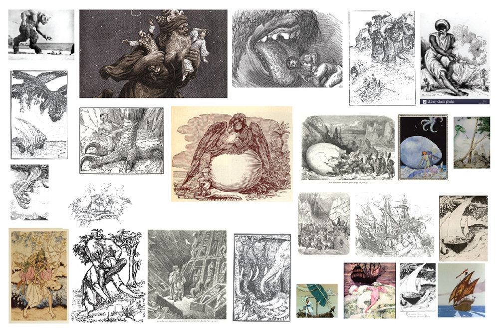 Lama's mood board of different depictions of Sindbad's stories
