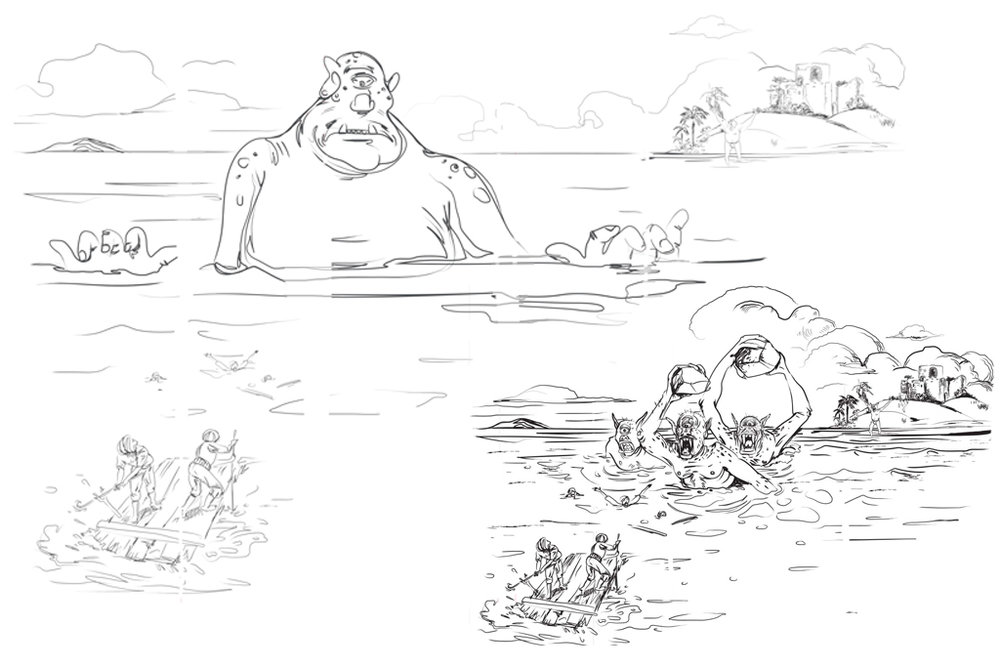 Left: a toned-down sea monster Right: initial sketches, more aggressive, which had to be reworked.