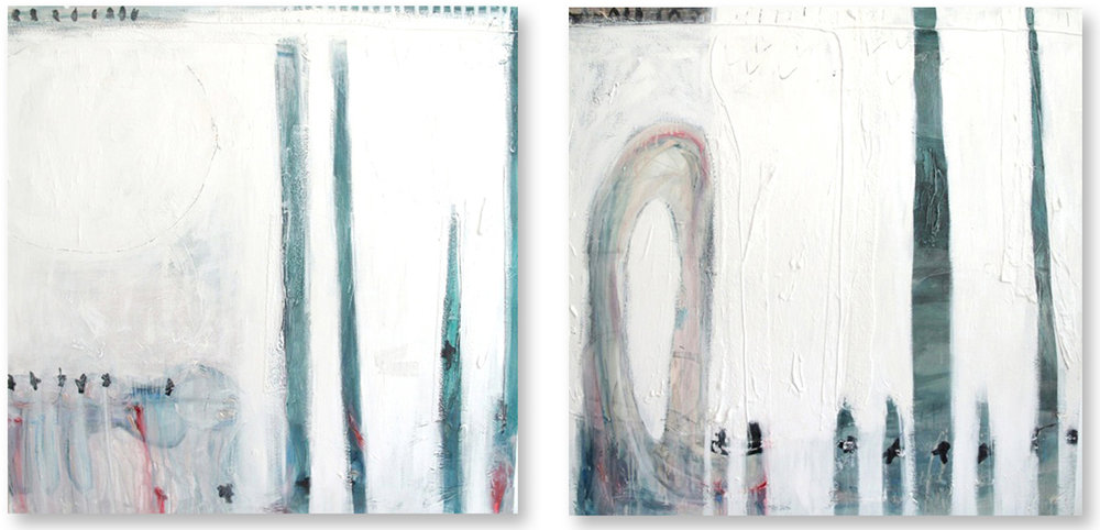The Pier Dubai. Acrylic oil wax mixed media on canvas. 107 x 100 cm, Diptych. Courtesy of the artist.