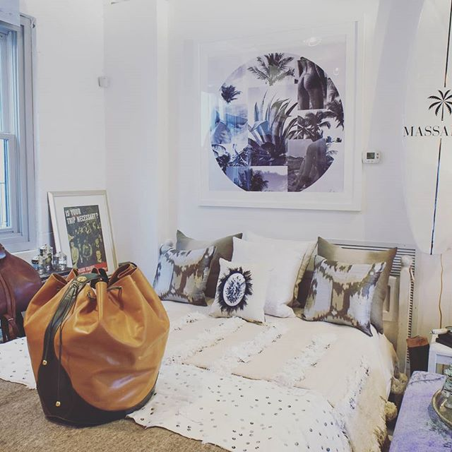 "From New Canaan to Palm Beach. Guest room inspiration # Antoine Verglas Saint Barths collage photograth#Jean Paul Gauthier pillow# Massarah blankets and custom surf board# oversize Christian Dior bucket bag. ""Must have"" to find only at Caravan Curated Home and & Joey Wolffer @ The Royal Poinciana Plaza"