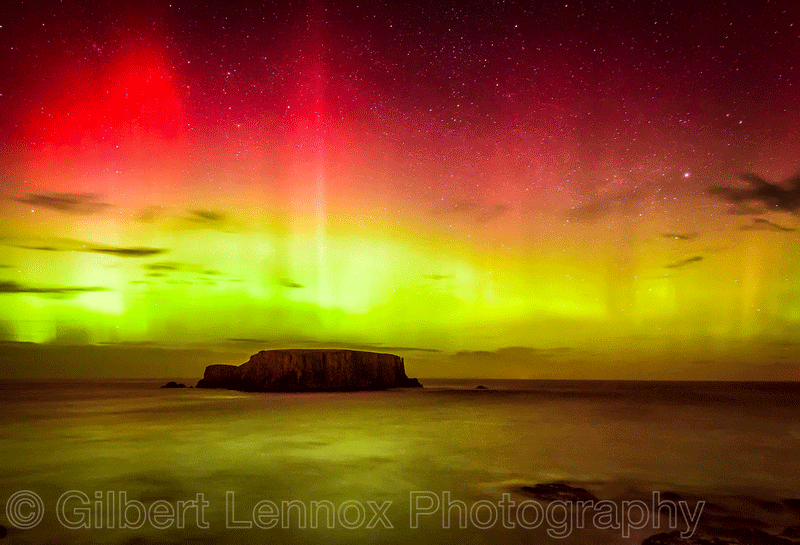 Northern Lights In Northern Ireland by Gilbert Lennox
