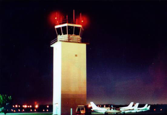 Smyrna Control Tower with Observation Lights on - Smyrna / Rutherford County Airport Authority