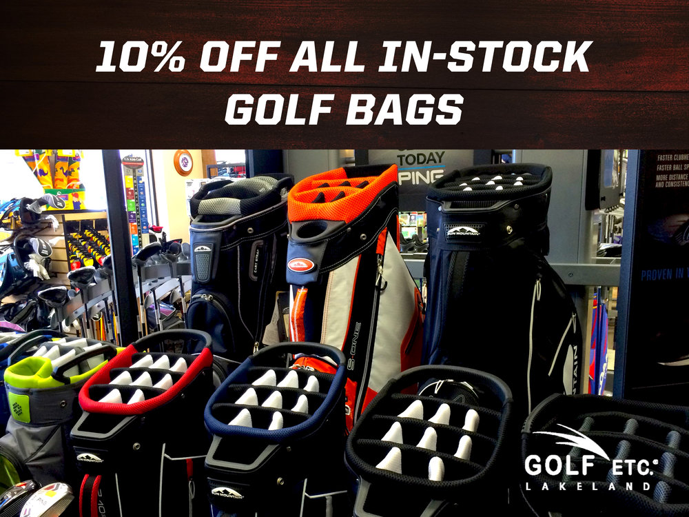 10 percent of instock golf bags
