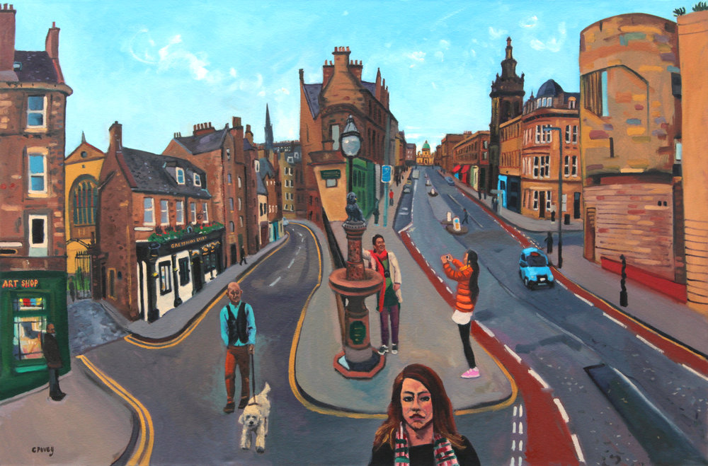 Greyfriars Bobby, Oil on canvas, 150 x 100cm - COLIN POVEY (colon) ICONIC SCENES OF GLASGOW AND EDINBURGH, The Lemond Gallery, Glasgow, 18 - 26 February 2017.jpg