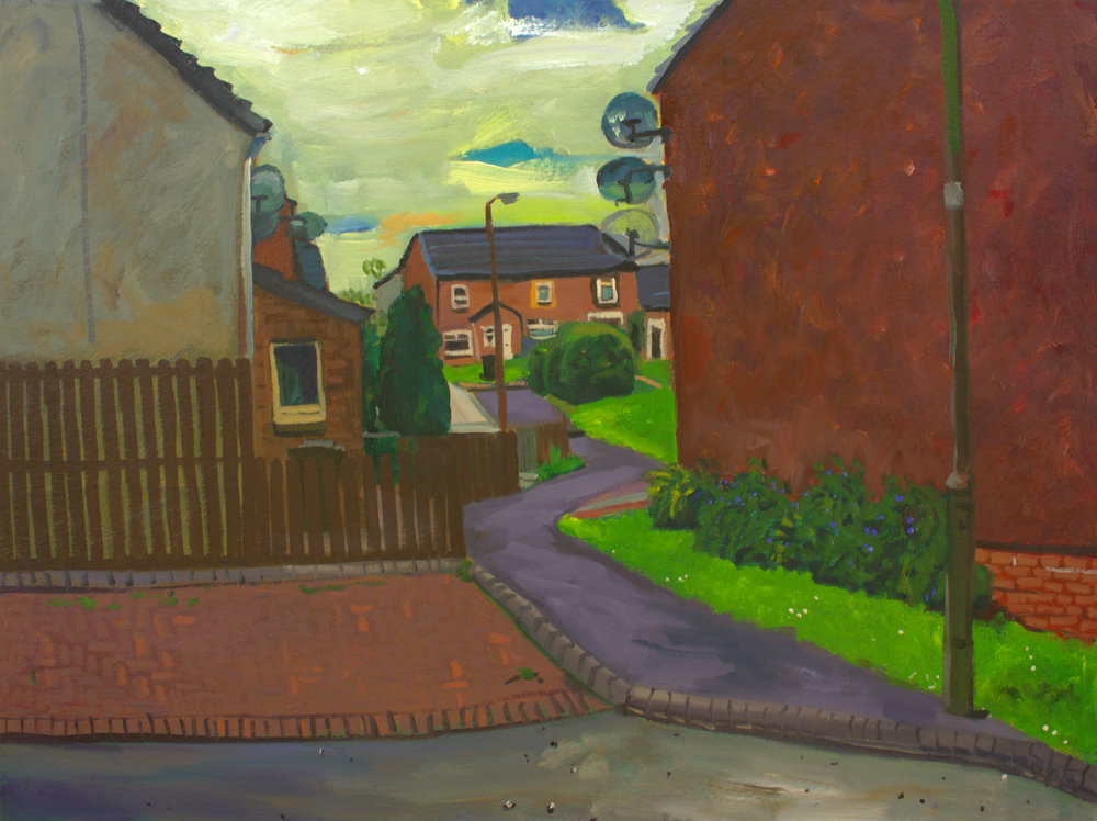 (4) Path through the Houses, Oil on canvas, 75 x 60cm -THE LOCALE (colon) MOVING ON, The Old Hairdressers, Glasgow, 31 August 2016.jpg