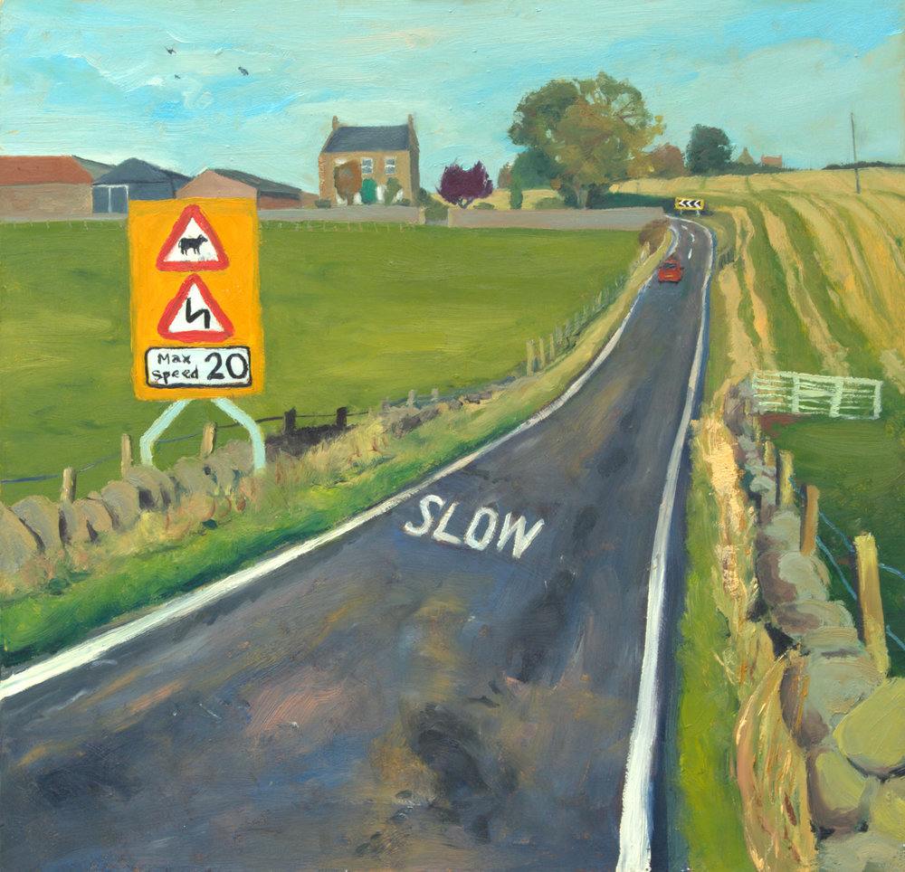(6) Bend in the Road,  Oil on board, 60 x 60cm - COLIN POVEY (colon) OIL PAINTINGS, Central Library, Edinburgh, April 2011.jpg