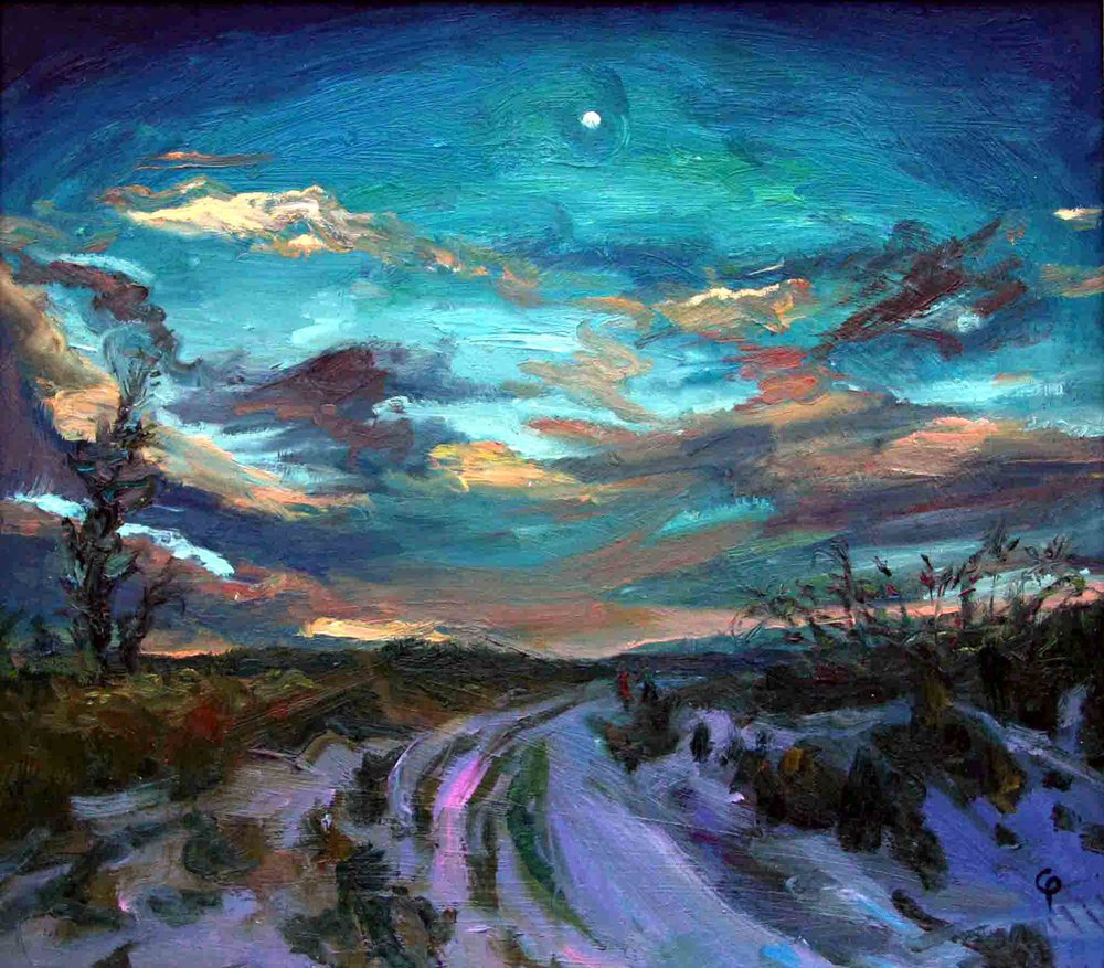 (7) A Winter's Eve, Oil on board, 55 x 50cm - COLIN POVEY SOLO SHOW, Edinburgh Filmhouse, February 2011.JPG