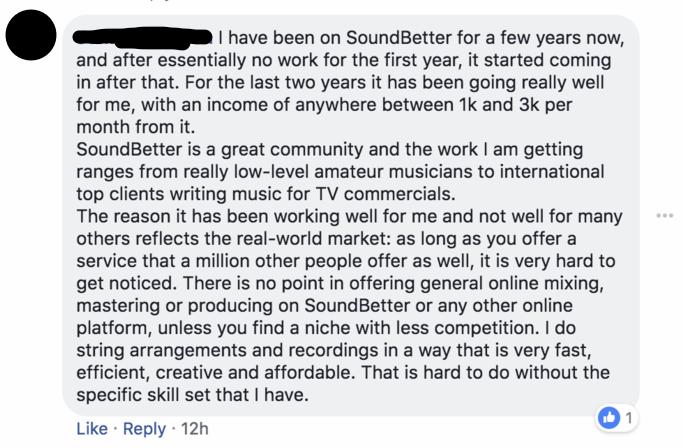 Comment on SoundBetter