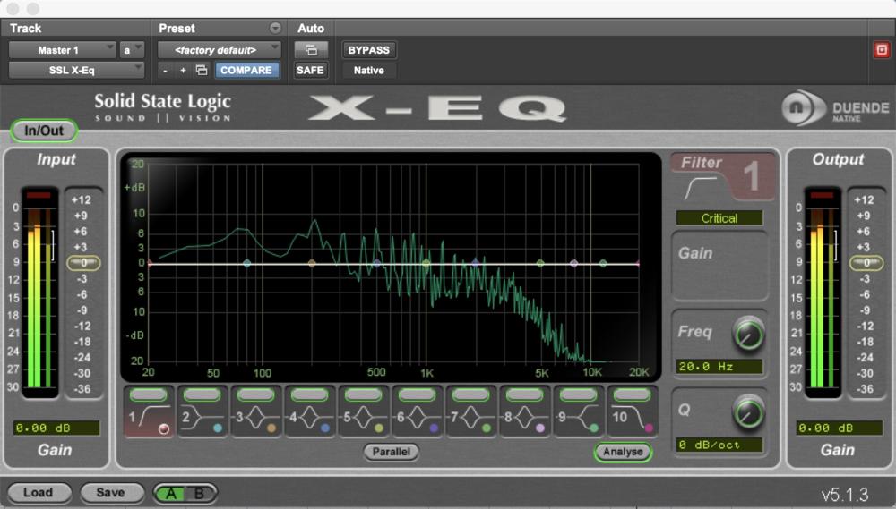 Built in analyser in the SSL EQ plugin