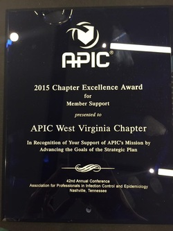 APIC WV earned the National Chapter Excellence Award for 2015 - This is presented each year to the chapter who supports APIC's Mission by Advancing the Goals of the Strategic Plan.