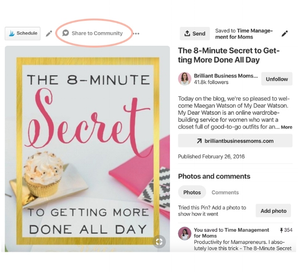 Pinterest pin screenshot - how to share a pin to Pinterest community