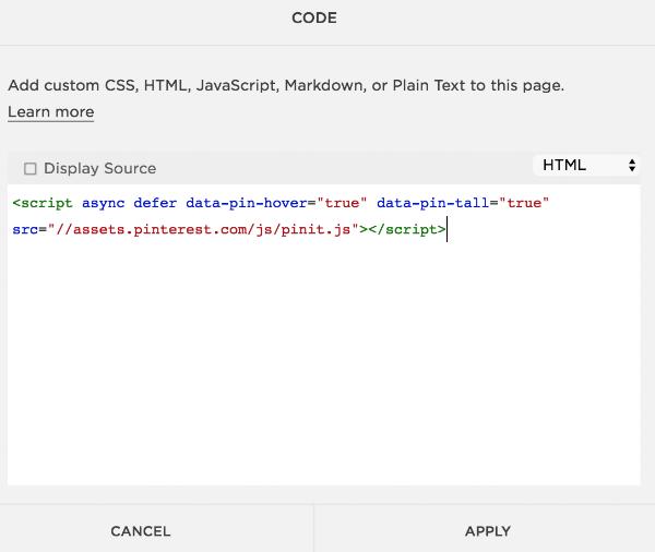 Adding Pinterest save button via Squarespace Code Block