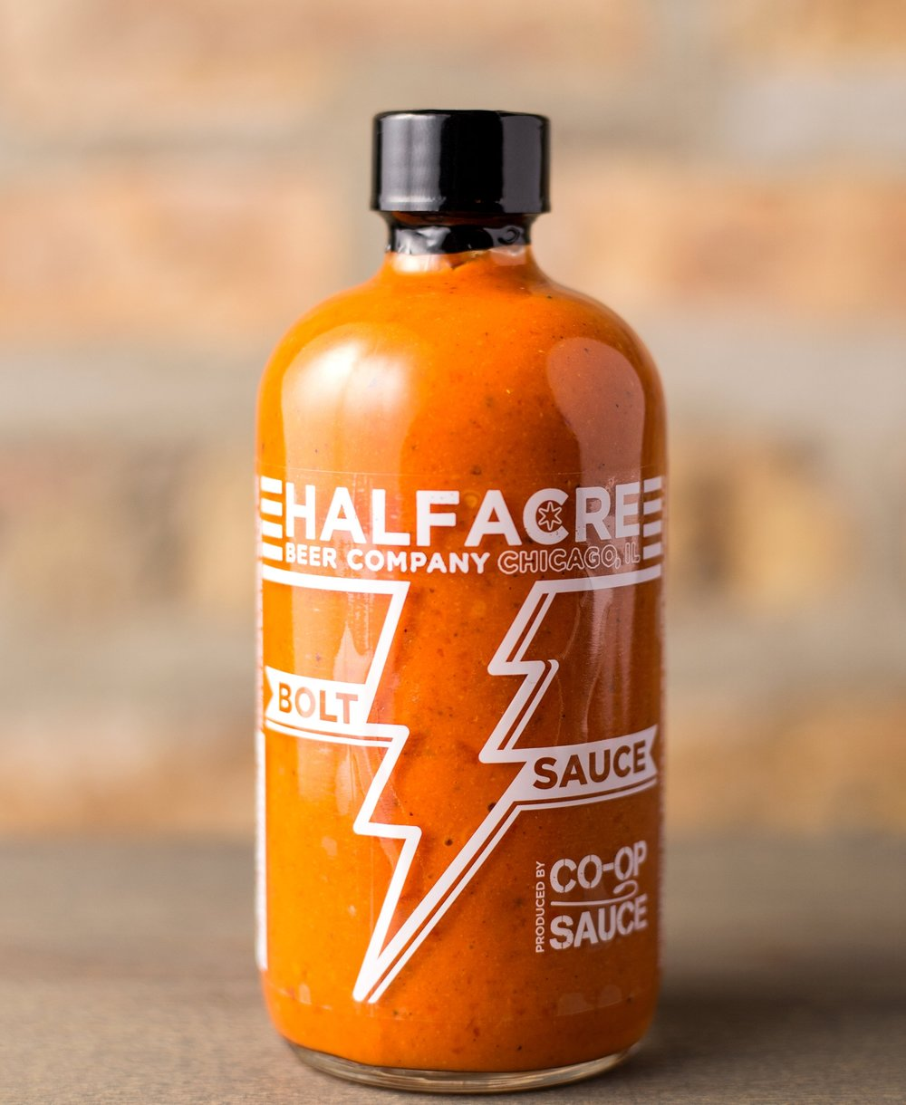 BOLT SAUCE - This beauty is also a beast, with hints of cumin crafted specifically for our friends at Half Acre Beer Company. You really can put this burrito zinger on all the things.