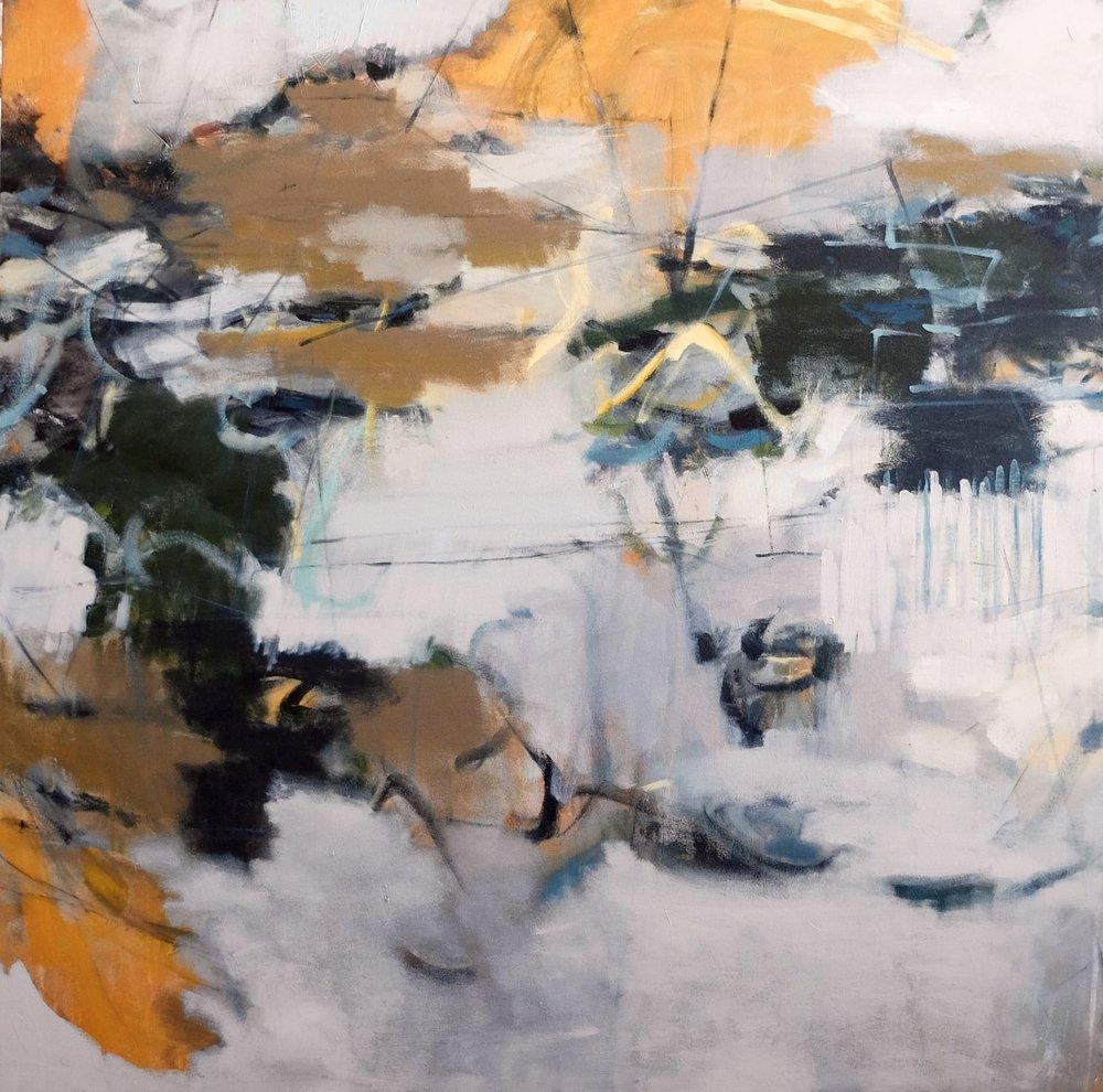 """TURBULENCE 45"""" x 45"""" Acrylic/Mixed Media on Canvas"""