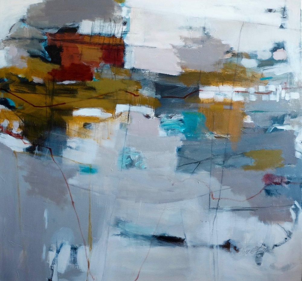 """FLY AWAY 45"""" x 48"""" Acrylic/Mixed Media on Canvas"""