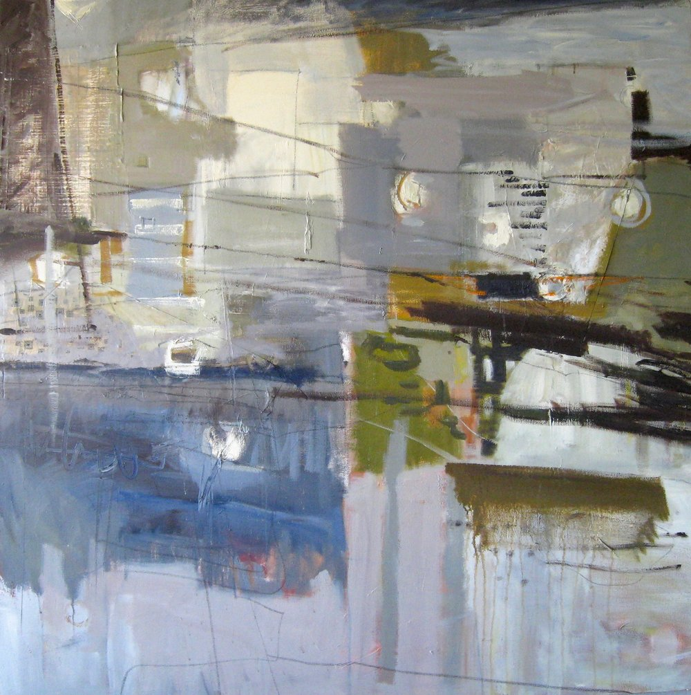 "Sold ABANDONED STRUCTURES 48"" x 48"" Acrylic/Mixed Media on Canvas"