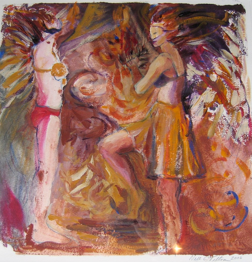 MARDI GRAS EXPERIENCE Acrylic/Mixed Media on Paper