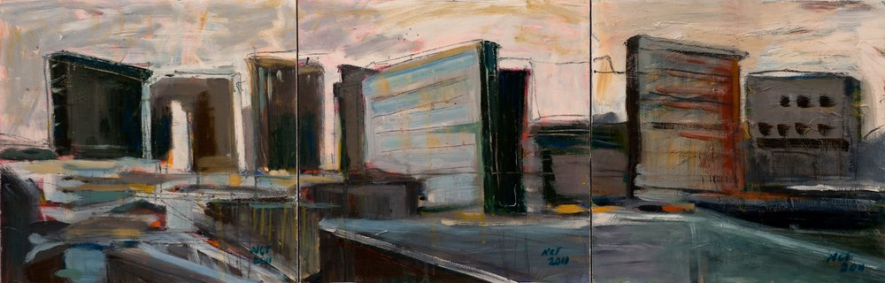 "Sold DREAM CITYSCAPE (triptych) 12"" x 36"" Acrylic/Mixed Media on Board"