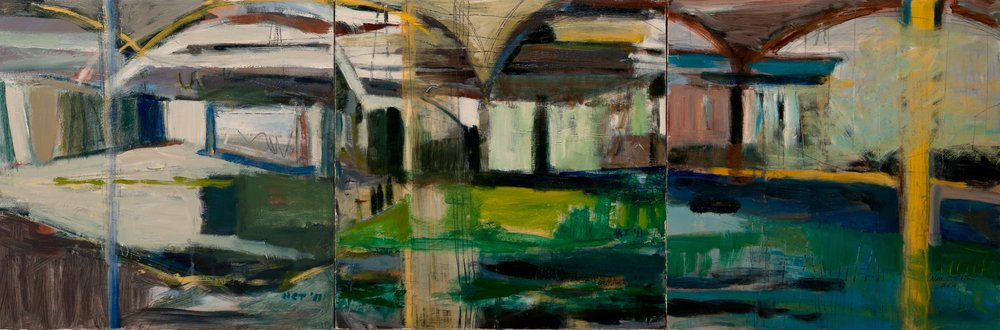 "Sold CONTRUCTION SITE 1, 2, 3 - 16"" x 48"" Acrylic/Mixed Media on Board"