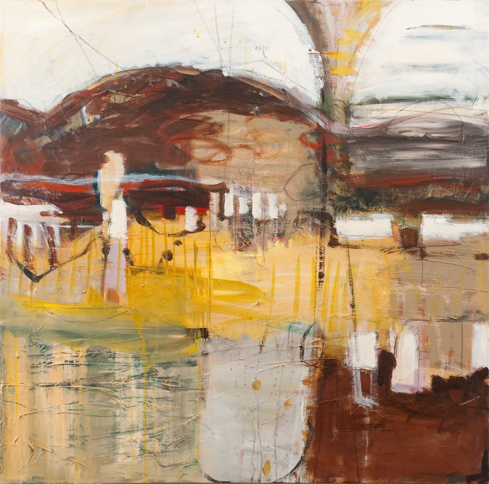 "Sold  RIVERGATE RUINS II  36"" x 36"" Acrylic/Mixed Media on Canvas"