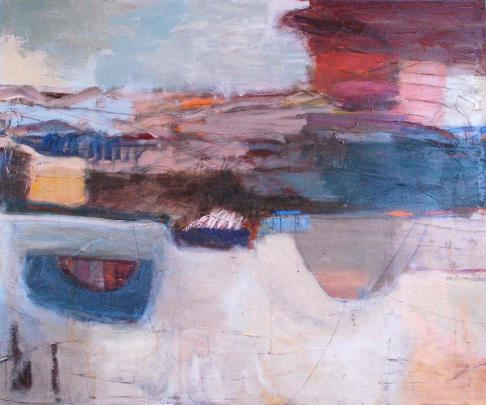 "Sold  VESSELS I (diptych) 36"" x 48"" Acrylic/Mixed Media on Canvas"