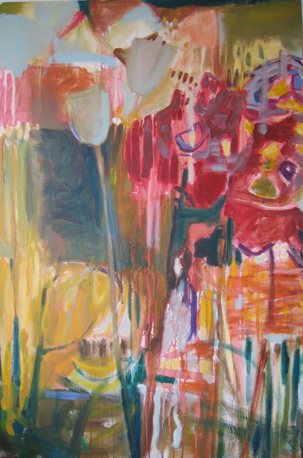 "Sold  SPRING SERIES 3  48"" x 36"" Acrylic/Mixed Media on Canvas"