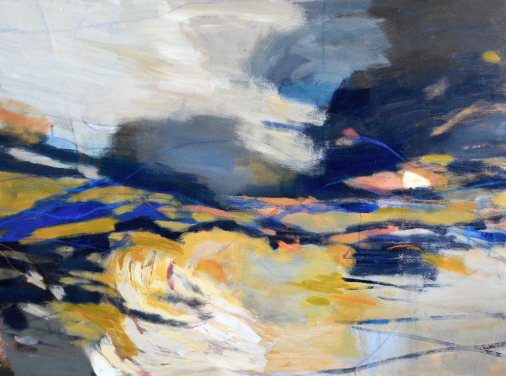 A RIVER FLOWS  30 x 40 Acrylic/Mixed Media on Canvas