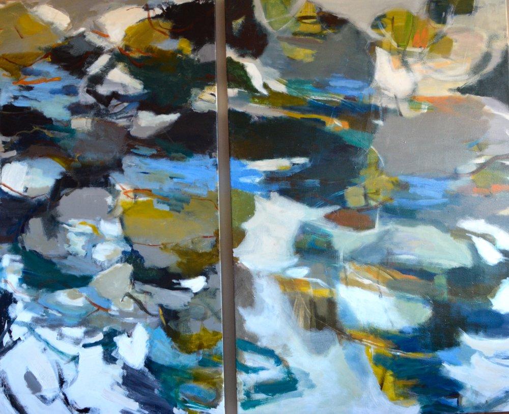 MEDITATION Diptych  52 x 62 Acrylic/Mixed Media on Canvas