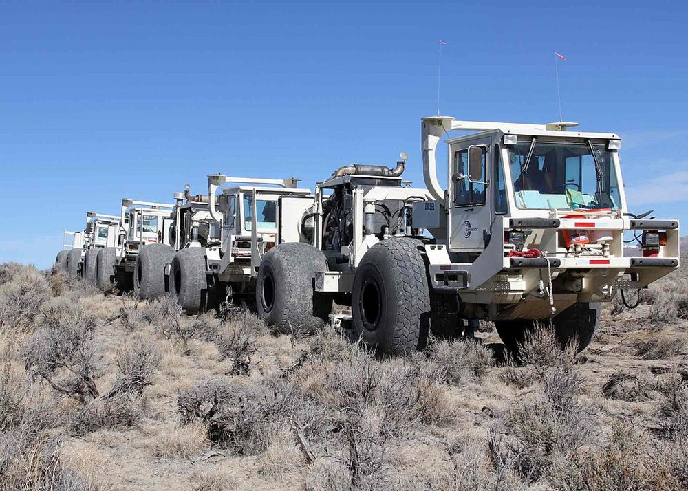 Thumper trucks in Elko, NV. These types of trucks are often used to find possible oil and gas deposits. BLM Nevada via Wiki Commons/CC BY 2.0