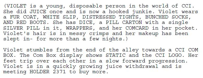 Excerpt #2 from the Juice screenplay.