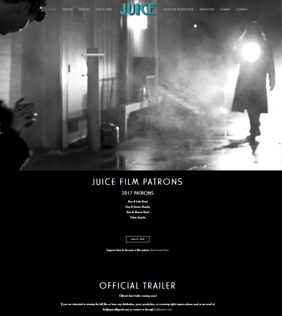A screenshot of the homepage for www.thefilmjuice.com.