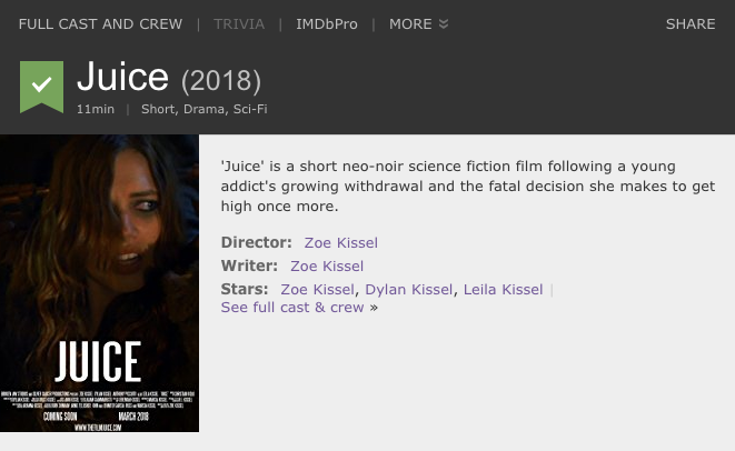 A screenshot of  Juice 's IMDb credit.