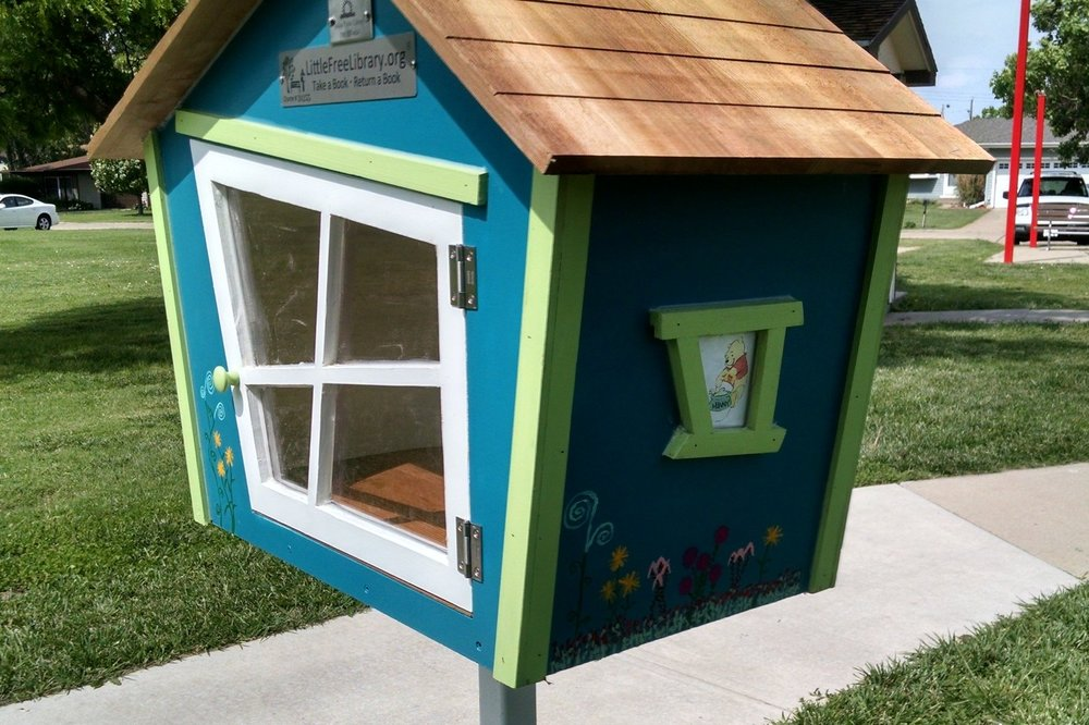 A Suessical-inspired little library, located in Centennial Park.