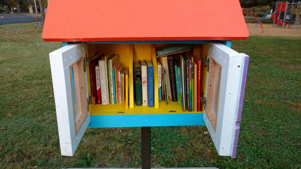 A happy and full little library! This one is at Sunset Park.