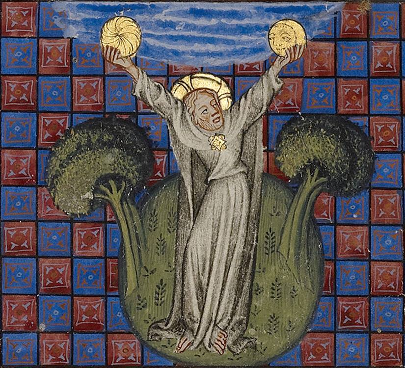 The Creation of the Sun and the Moon from the Bible Historiale, France ca. 1350-1370 LA, The J. Paul Getty Museum, Ms. 1, v1, fol. 5r. Retrieved from: https://www.facebook.com/stephen.ellcock