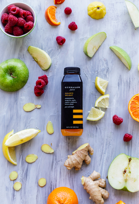 Gundalow Juice, locally sourced in our home state of Maryland. All juices are cold-pressed using HPP (also known as Pascalization), which ensures that consumers get the highest yield of vitamins, minerals and enzymes, and a startling fresh taste without the use of preservatives.