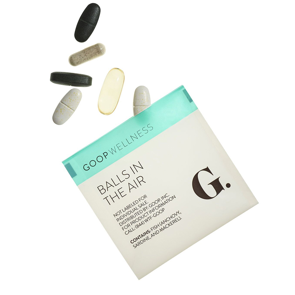 GOOP WELLNESS:  Balls In The Air. T his regimen is designed for men & women who function at an intense pace, and want to keep it that way. 1-month supply = 30 packets.
