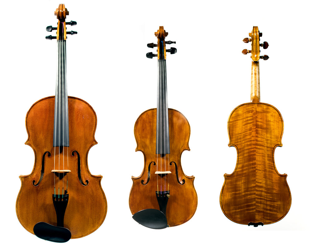 Instruments mentioned in the article. From left to right: Gillian's 'Da Salo' inspired viola, first violin made from scratch, violin I made from a kit.