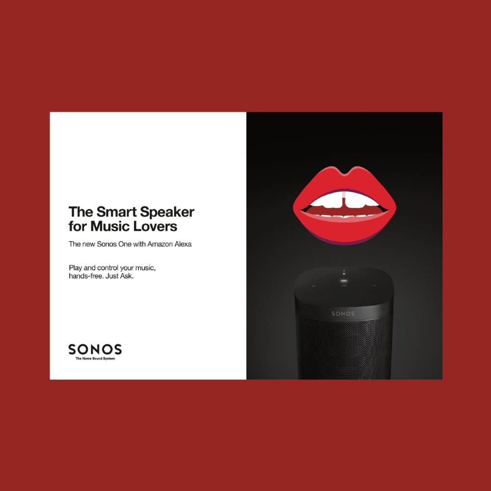- Parts of Sonos One launch from live reads &social ads to product manual.