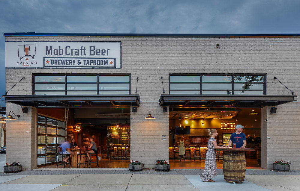MobCraft Beer Brewery & Taproom.   Winner of ASID Design Excellence, Milwaukee Business Journal Real Estate and a Milwaukee Mayor's Design Award.