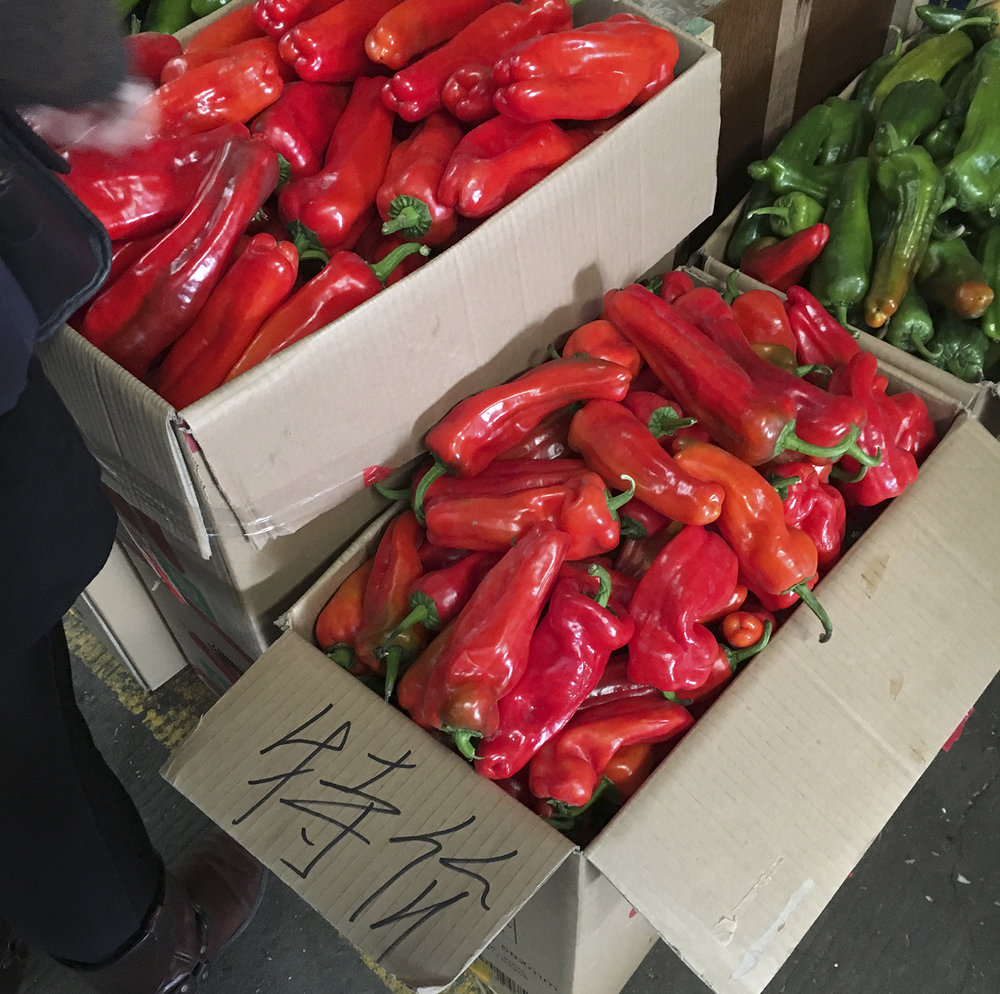 Shanghai wholesale market fieldwork, observing the range of peppers being sold.