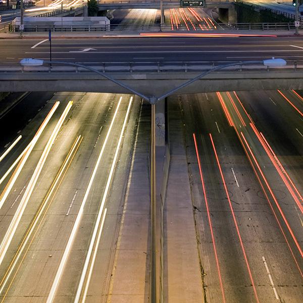 Los Angeles highway fieldwork, observing noise levels. Photo credit: David LLoyd
