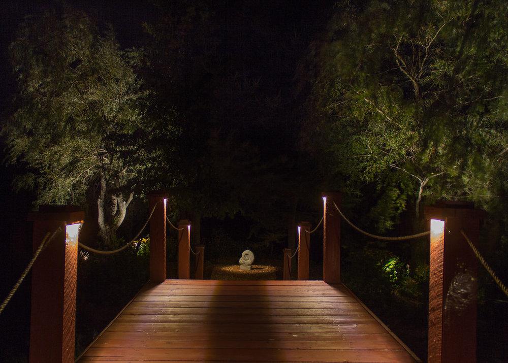 Éclairage paysager, pont