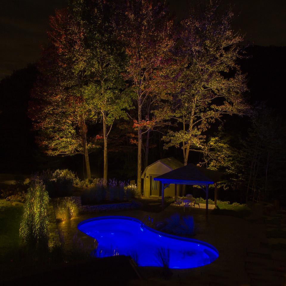 Éclairage paysager, piscine