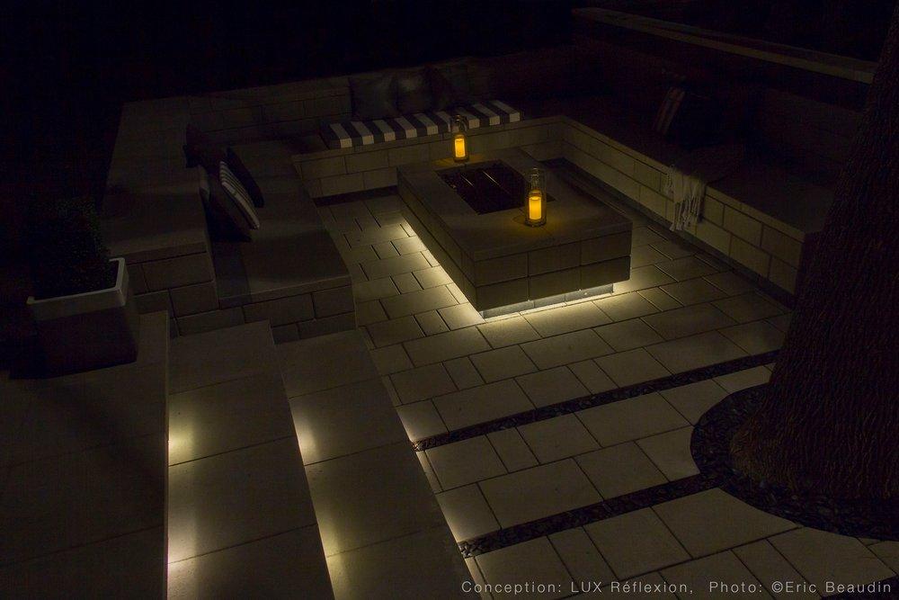 Éclairage architectural, espace de vie extérieur