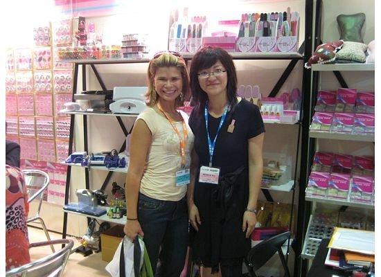 Me at a nail art supply booth at CosmoProf HK 2008
