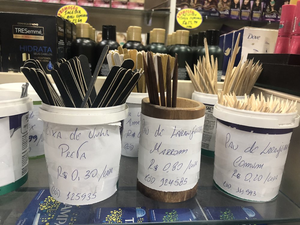 The cuticle sticks in the center are .80 reais - or 20 cents USD. The cheaper, disposable ones on the right are .20 reais - or 5 cents each.