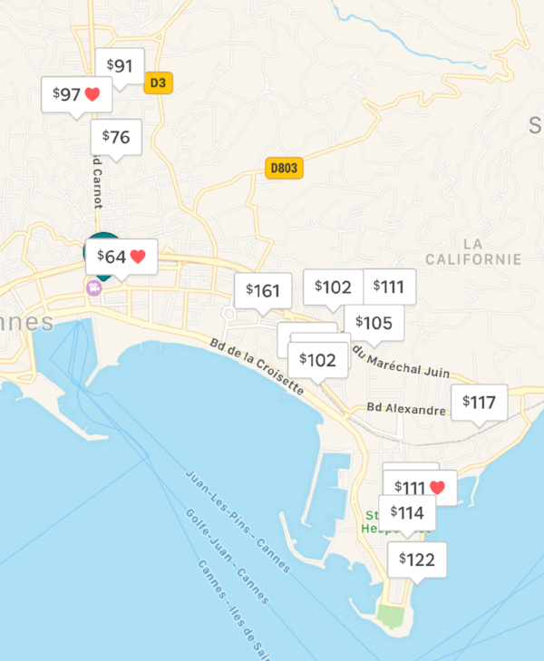 An example of AirBnb availability for entire apartments the week of May 14-19, 2019
